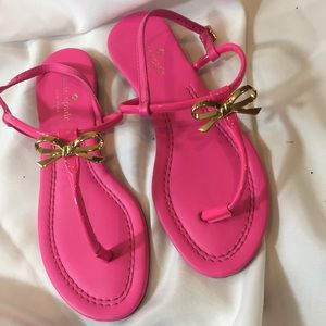 Kate Spade Tracie Bow Sandals Sz 7 Hot Pink